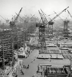 "May 1943. ""Bethlehem-Fairfield shipyards, Baltimore. 'Liberty ship' cargo transports."" Photo by Arthur Siegel, Office of War Information"