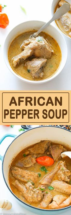 African pepper soup is a delightfully ,intensely flavored soup that is served throughout West Africa, especially in Nigeria, Cameroon and other neighboring African countries. West African Food, South African Recipes, Ethnic Recipes, Soup Recipes, Chicken Recipes, Dinner Recipes, Cooking Recipes, Pepper Recipes, Recipies