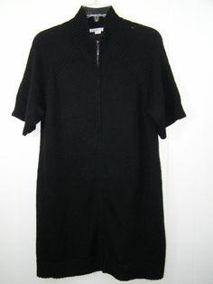 Coldwater Creek L 14 16 Black Acrylic Wool Tunic Zip Cardigan #Sweater Thick Knit #ColdwaterCreek