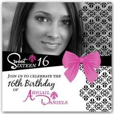 Sweet 16 Invitations: Impress your friends with a fabulous picture of yourself adorned with a pretty damask pattern and chic belt design in pink and black. Description from paperstyle.com. I searched for this on bing.com/images