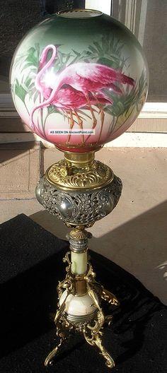 Antique~Florida~Flamingo oil lamp~Victorian Era