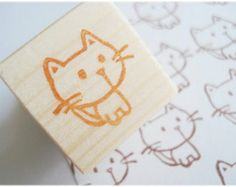 Cute little cat stamp, Handmade kitten stamp, animal stamp, Kawaii cat, Rubber stamp, Neko