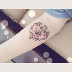 Heart Locket Tattoo for me ...LOVE This ...but not with pink....oh and on my foot