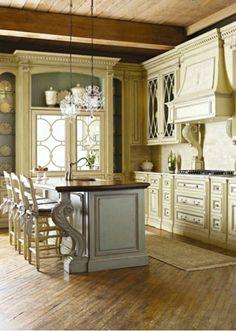 Elegant French Country Kitchen Design Ideas — Home Design Ideas - DIY & Craft Country Kitchen Designs, French Country Kitchens, Kitchen Country, Country French, Modern Country, Cottage Kitchen Cabinets, Kitchen Cabinetry, Kitchen Sinks, Kitchen Fixtures