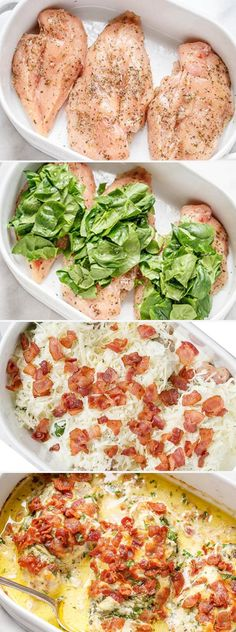 Bacon Spinach Chicken Alfredo Casserole - Rich, creamy and so delicious, you'll go crazy for the flavors of this easy chicken dinner. - by Bacon Spinach Chicken Alfredo Casserole What's for Dinner? Chicken And Spinach Casserole, Spinach Stuffed Chicken, Alfredo Casserole Recipe, Rice Casserole, Pollo Alfredo, Spinach Alfredo, Enchiladas, Chicken Recipes, Easy Spinach Recipes