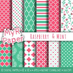 """Romantic digital paper: """"Raspberry & Mint"""" seamless pattern for scrapbooking, invite, card – perfect for valentine's day and wedding di MyRpaper su Etsy"""