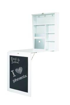 Phönix 805106WE Schreibtisch York zur Fixierung an der Wand, ein/ausklappbar mit viel Stauraum und Ablagefächer und Tafelfront, 60 x 75 x 15,5 cm, weiß: Amazon.de: Küche & Haushalt
