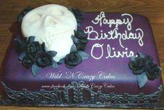 Dark purple and black gothic skull cake