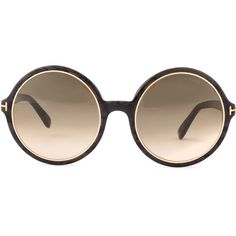 Tom Ford Carrie Round Frames, Black ($425) found on Polyvore