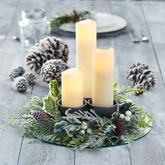 ec0ca78f376 Decorate for the holidays with this easy to make DIY Mini Wreath Candle  Centerpiece Christmas Party