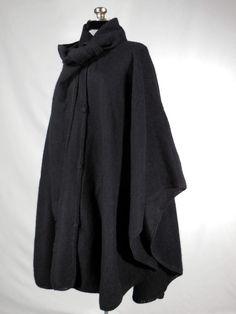Black Alpaca wool cape poncho wrap with scarf by VintageRoseTattoo