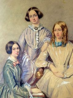The Bronte Sisters. Lto R: Charlotte, Emily and Anne. : between them they wrote, amongst others, Jane Eyre (Charlotte, Wuthering Heights (Emily) and The Tenant of Wildfell Hall (Anne). Charlotte Bronte, Emily Bronte, Jane Austen, Wuthering Heights, Bronte Sisters, James Joyce, Writers And Poets, Classic Literature, Oscar Wilde