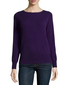 Long-Sleeve Bateau-Neck Cashmere Top, Brown - Neiman Marcus Cashmere Collection