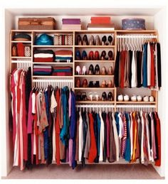 Organization Bedroom Wardrobe - 46 Clever Hanging Wardrobe to Storing Your Outfit. Wardrobe Organisation, Wardrobe Storage, Closet Organization, Closet Storage, Organization Ideas, Diy Wardrobe, Wardrobe Wall, Clothing Storage, Small Walk In Wardrobe