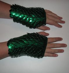 Scale Maille Armor Gauntlets Forest Green Knitted Dragonhide. $55.00, via Etsy.