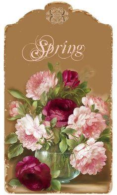 Bouquet & Full Of Flower Basket painting by Fasani Art Vintage, Vintage Tags, Vintage Labels, Vintage Postcards, Vintage Prints, Art Floral, Paper Art, Paper Crafts, Etiquette Vintage