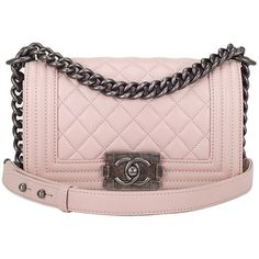 Preowned Chanel Baby Pink Quilted Lambskin Small Boy Bag ($5,350) ❤ liked on Polyvore featuring bags, handbags, purses, chanel, chanel bags, pink, pink handbags, man bag, hologram purse and baby pink handbag