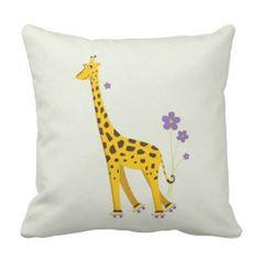 Funny Giraffe Roller Skating Children's Pillows $36.95 #pillow #decor #giraffe
