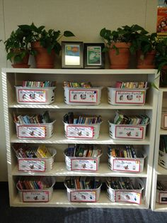 Love baskets to organize my classroom library. Plants bring life to a room and the picture frames make it cozy too.Blog post on Organization 101 by The Teacher Next Door.