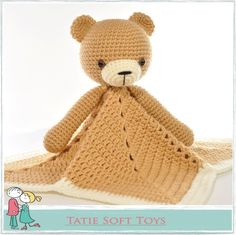 FREE Lovey Blanket Bear Security Blanket Teddy Crochet pattern by TatieSoftToys