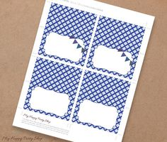Blue Barbeque buffet cards Picnic Food label BBQ Place