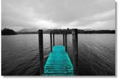 Derwent 2 Tint  Black and white Lake District canvas print of Derwent Water with teal colour tint. Photograph taken by Lucy Art artist Robert Haigh, 2008. Landscape art print, Exclusive to Lucy Art. Canvas is wrapped around 1.5 inch frame and stapled on the back, ready to hang.