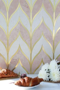 Absolutely stunning tiles by Mosaique Surface. This style is called 'Odyssee Bellechase'. The combination of blush pink and gold is feminine, but seriously cool! Pink Bedroom Design, Pink Bedroom For Girls, Gold Bedroom, Master Bedroom, Blush Wallpaper, Bathroom Wallpaper, Pink And Gold, Blush Pink, Pink Tiles