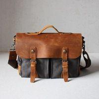 Waxed Canvas Messenger Bag / Leather Messenger Bag / Laptop Messenger Bag / Men Messenger Bag / Messenger Bag Men / Satchel / Briefcase men(S53) - Thumbnail 1