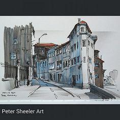 Urban sketch. Painted on location today. Porto Portugal.  www.ebay.ca/usr/sheelerart . #town #urban #buildings #landscape #street #art #artist #original #watercolor #watercolour #painting #paintingaday #penandink #waterbrush #pleinaire #urbansketch #urban
