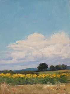 Blue Skies and Sunflowers by Susan Fuquay Oil ~ 8 x 6