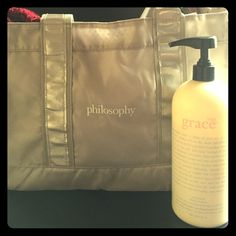 Cool philosophy bag with philosophy lip gloss Never Used! Super cute and waterproof bag with raspberry sorbet flavored lip gloss! Philosophy Bags Totes