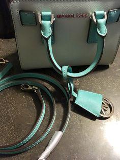 Michael Kors Blue Leather Small Handbag Removable Strap Satchel Shoulder Bag $79.99