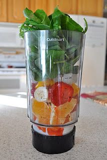 """Post-Workout Smoothie known as a """"Green Monster."""" [I add a handful of spinach to just about every smoothie I make - great way to get some in my wee ones' bellies. They love the taste, which is still very fruity, and the cool green color.]"""