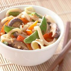 Asian Lo Mein - Diabetic - udon noodles - 3 eggs - cooking oil - toasted sesame oil - fresh ginger - crushed red pepper - red sweet pepper - sugar snap or snow peas - light teriyaki sauce - bean sprouts - celery - shrimp or chicken