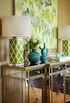 Color combo inspiration for dining room House of Turquoise: Colordrunk Designs House Of Turquoise, Turquoise Accents, Interior Exterior, Interior Design, Tropical Decor, Colorful Interiors, Decoration, Beautiful Homes, Sweet Home