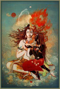 Shiva and Durga/Parvati (Kali form of Durga/Parvati). Mahakal Shiva, Shiva Art, Hindu Art, Krishna, Hanuman, Indian Gods, Indian Art, Tantra Art, Rudra Shiva