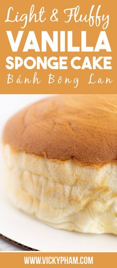 """Banh Bong Lan is a French-influenced Vietnamese sponge cake. It's made with eggs, flour, sugar, and vanilla. It translates to """"orchid cake."""" Because of the whipped egg whites, the cake bakes up like a souffle, resembling a blooming orchid. Unlike western cakes, Banh Bong Lan is light, fluffy, and not overly sweet. Vietnamese Dessert, Vietnamese Egg Cake Recipe, Vietnamese Food, Vietnamese Recipes, Japanese Street Food, Thai Street Food, Vanilla Sponge Cake, Vanilla Cake, Poke Cakes"""