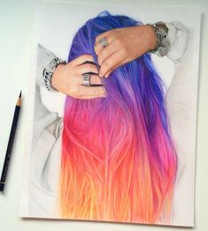 Sunset type of ombre hair colour, very pretty Más Hair Color Pink, New Hair Colors, Cool Hair Color, Purple Hair, Crazy Hair Colour, Color Yellow, Pastel Purple, Pelo Multicolor, Sunset Hair