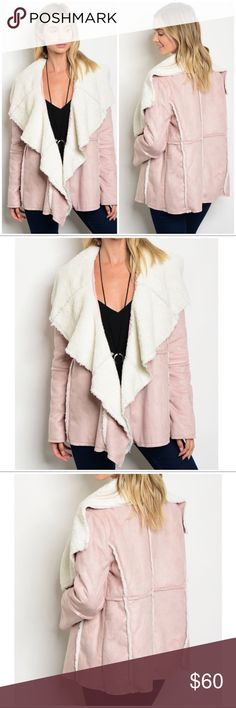 """Pink Faux Suede Shearling Collar Jacket NWT Stunning dusty pink faux suede jacket with ivory shearling collar.  *Model is 5'7"""" wearing a size Small *100% polyester  *Chest: S 40"""", M 44"""", L 48"""" *Length: 28""""  The jacket is an open style not fitted, so there is room in the chest area.  All measurements are approximate. Boutique Jackets & Coats"""