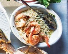 Shrimp Scampi by saveur: A simple, delicious seafood pasta, full of flavor from garlic, shallots, and red chile flakes. #Shrimp_Scampi