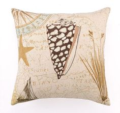 Down Filled Luxury Seashell Embroidered Pillow