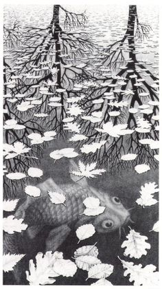 escher art with trees | ... world – the fish and the reflected world beyond the pond, the trees