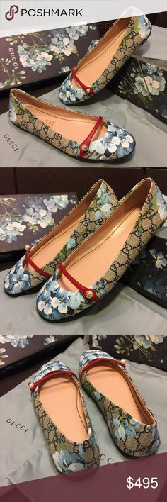 """Gucci Blooms Flats New Gucci Flats. GG Supreme Coated Canvas with Floral Bloom Print. Red Leather Contrasting Strap with pearl topped with a gold Gucci Interlocking """"GG"""" logo. Pebble soles. Gucci Shoes Flats & Loafers"""