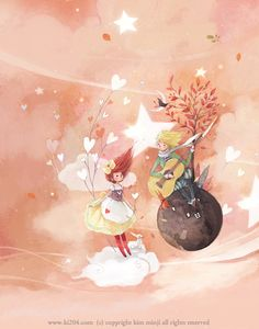 by Kim Minji Art And Illustration, Watercolor Illustration, Creative Pictures, Art Pictures, Kim Min Ji, The Little Prince, Whimsical Art, Conte, Art World