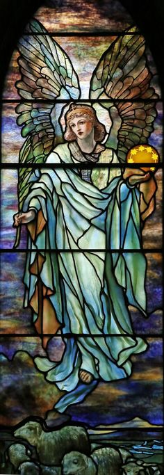 Tiffany, Jacob and Two Angels Stained Glass Window,at St. Stained Glass Church, Stained Glass Angel, Tiffany Stained Glass, Tiffany Glass, Stained Glass Windows, Leaded Glass, Mosaic Glass, I Believe In Angels, Church Windows