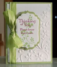 Handmade Sympathy Card Stampin' Up Thoughts & prayers by WhimsyArtCards Making Greeting Cards, Greeting Cards Handmade, Wedding Card Templates, Wedding Cards, Embossed Cards, Stamping Up Cards, Get Well Cards, Pretty Cards, Sympathy Cards