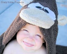 Monkey Hooded Towel - Crazy Little Projects