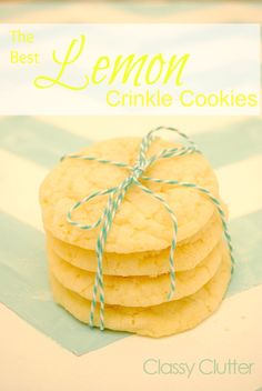 The BEST Lemon Crinkle Cookies - perfect cookie for spring and summer! YUM!!!     I made these last night and they were a huge hit! SO easy and delicious!!!