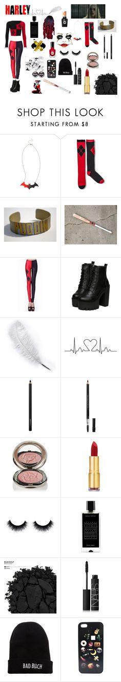 """Harley Quinn"" by keeksdosramos ❤ liked on Polyvore featuring MAC Cosmetics, Christian Dior, Chantecaille, Isaac Mizrahi, Sally Hansen, Agonist, Urban Decay, NARS Cosmetics, Kill Brand and Mad Love"