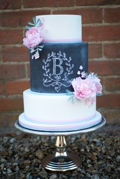 "if it is that's so funny :D...Chalkboard cake with ""B: monogram and pink peonies"